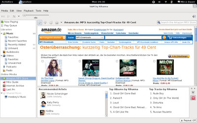 Banshee screenshot showing the Amazon MP3 Store plugin